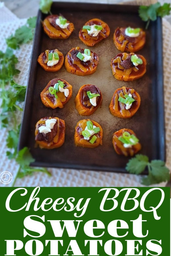 Cheesy BBQ Sweet Potatoes on a stone baking sheet