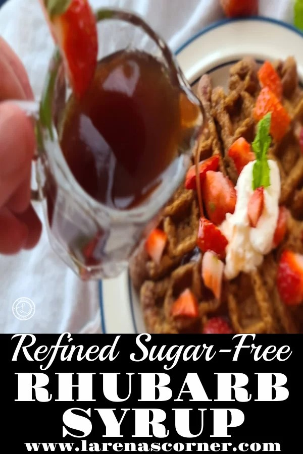 Refined Sugar-Free Rhubarb Syrup being poured onto a waffle