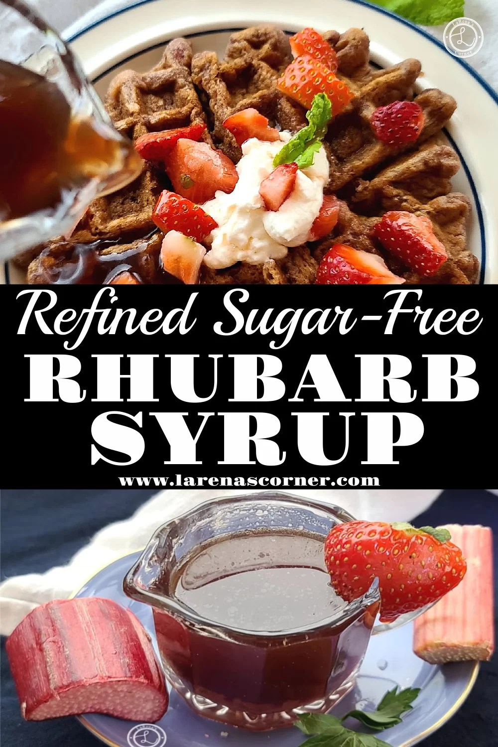 Two pictures of Refined Sugar-Free Rhubarb Syrup. One of the syrup being poured onto a waffle. The second picture of the syrup in a glass container.