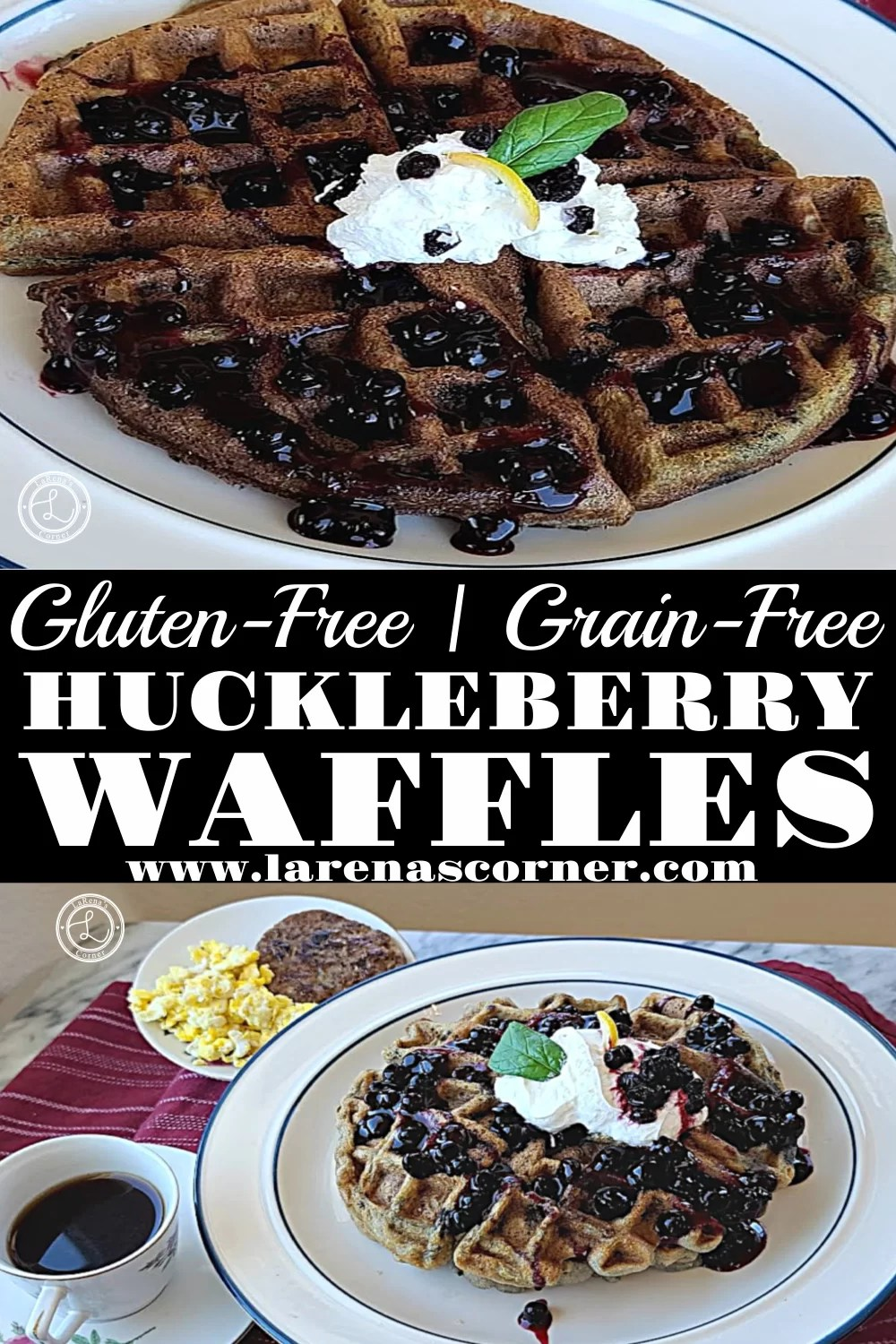 Gluten-Free Huckleberry Waffles: Two pictures one with sausage, eggs, and coffee, one close up of the waffle.