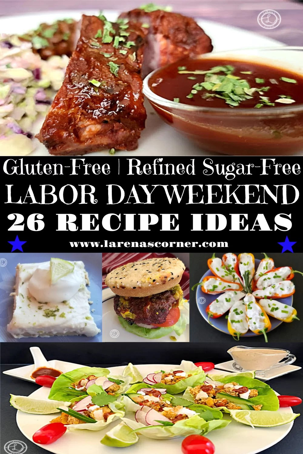 Labor Day Recipe Ideas. Including Baby Back Ribs with homemade BBQ Sauce, Key Lime Cheesecake, Buffalo Burgers, Lobster Dip, and Chicken Lettuce Wrapped Tacos
