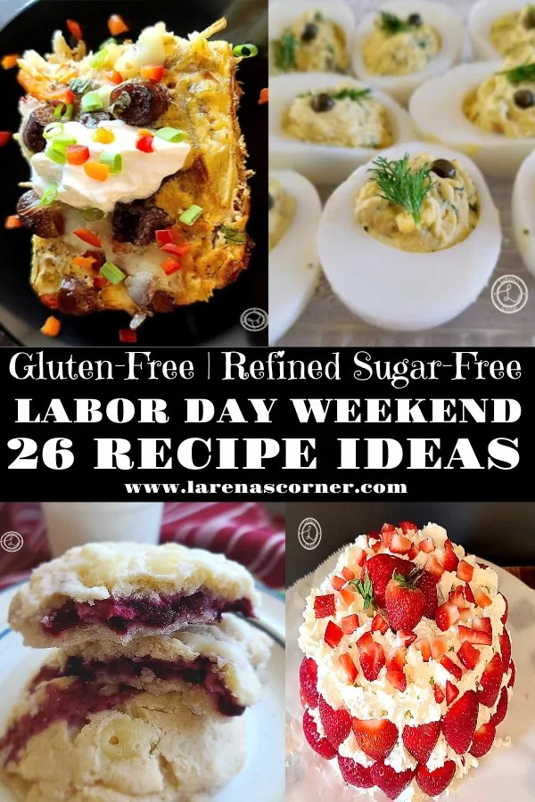 Labor Day Weekend Recipe Ideas. Including Maple Sausage Breakfast Casserole, Dill Deviled Eggs, Best Huckleberry Cookies, and Strawberry Cake