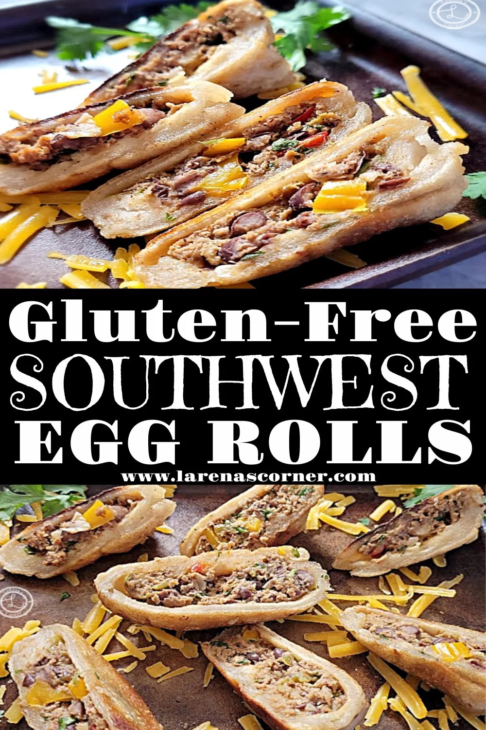 Gluten-Free Southwest Egg Rolls 2 pictures of egg rolls on a stone baking sheet.