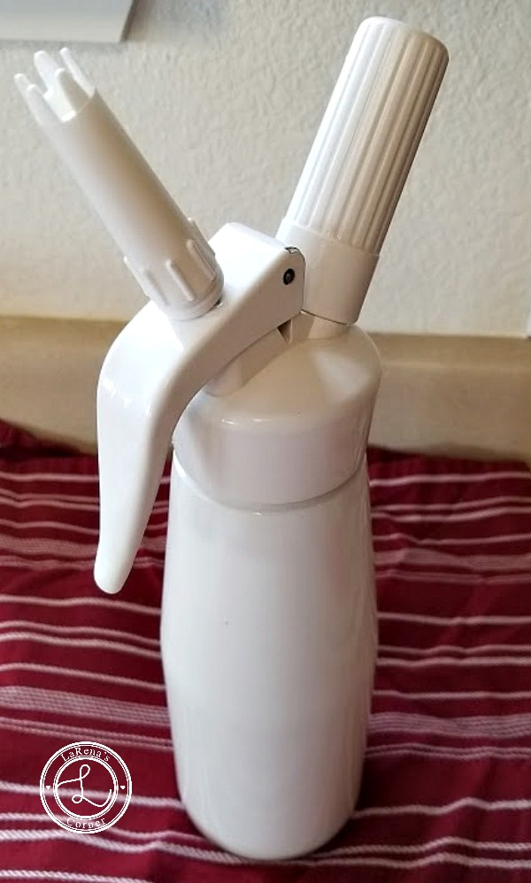 The Whip Cream Dispenser with the Decorative tip on