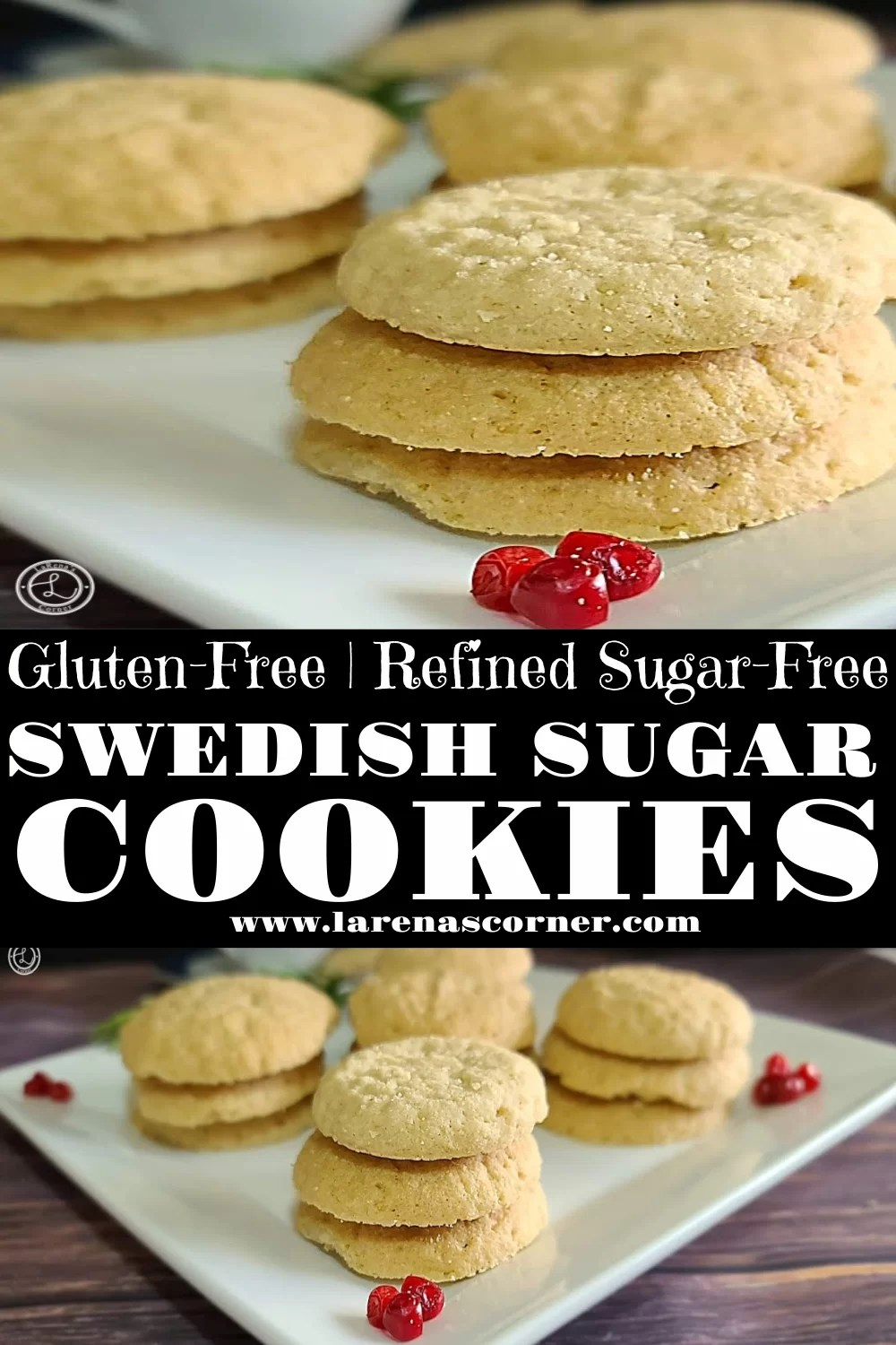 Two pictures of Stacks of cookies on a white plate Gluten-Free Swedish Sugar Cookies Recipe