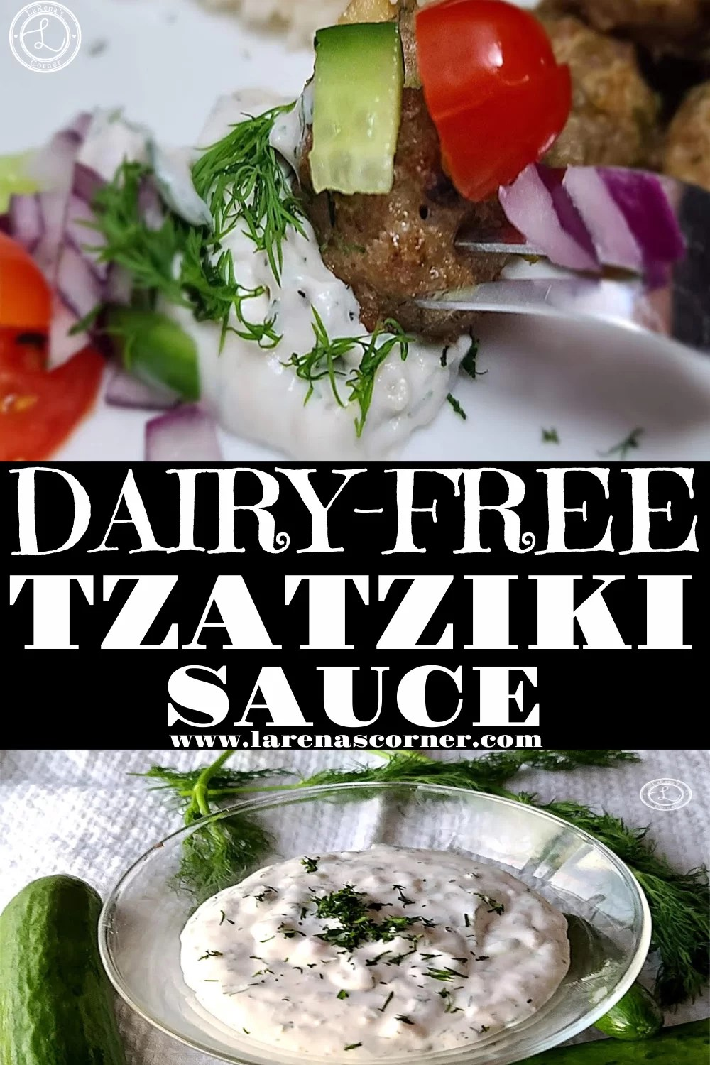 Two pictures of Dairy-Free Tzatziki Sauce