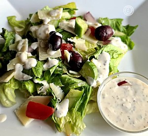 Dressing on a salad