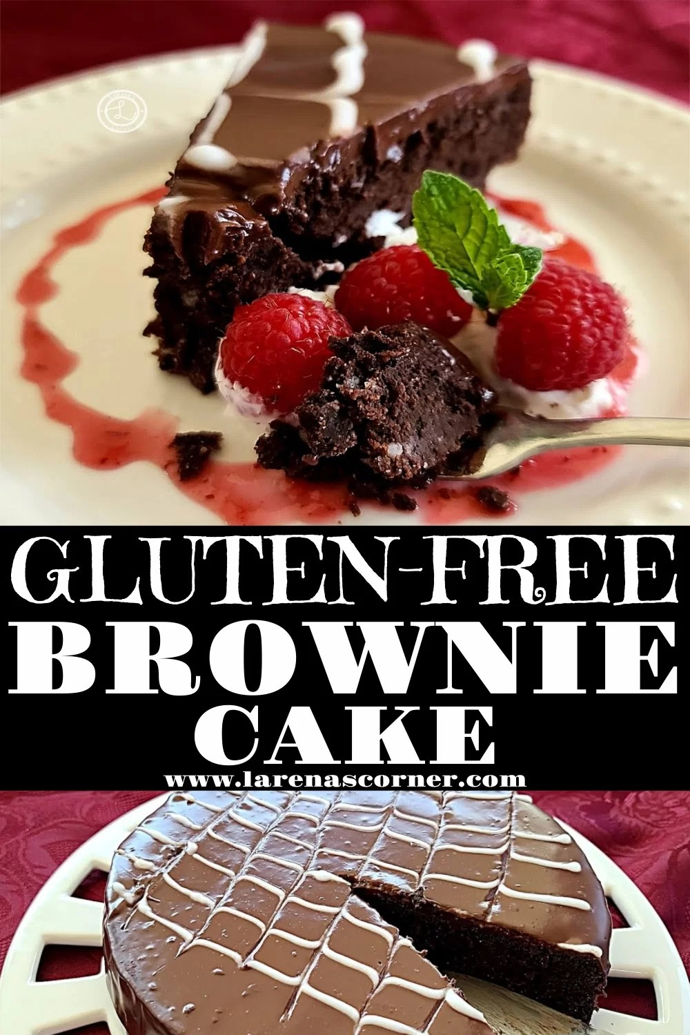 Two pictures of Gluten-Free Brownie Cake. One of a slice of cake, one with a slice removed.