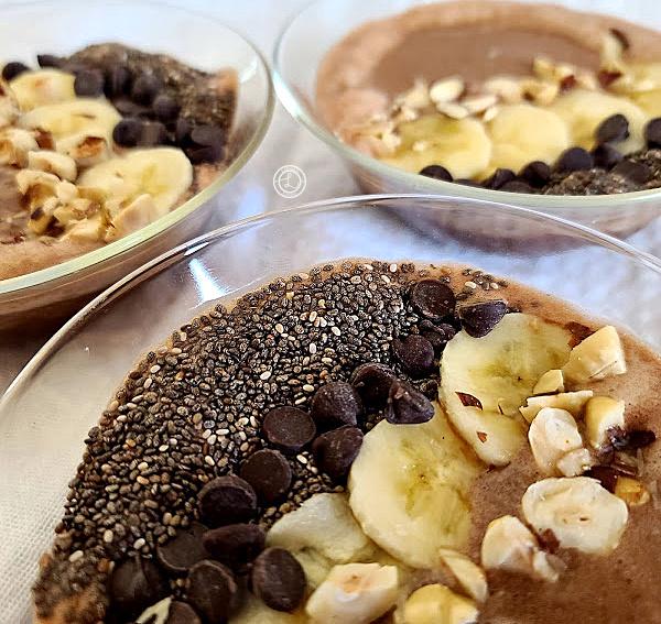 A clip of three bowls Banana Mocha-Hazelnut Smoothie Bowl