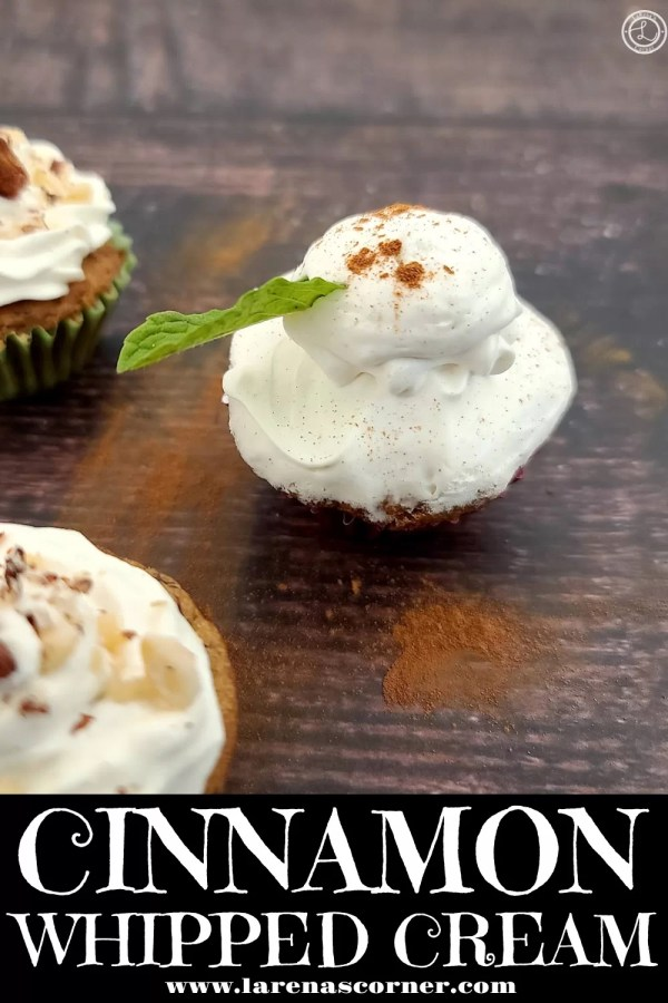 Mini Banana Muffins with Cinnamon Whipped Cream. Two have chopped hazelnuts and one has a dusting of cinnamon with a sprig of mint.