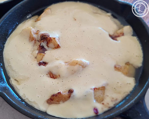 Gluten-Free German Apple Pancakes apples topped with pancake batter