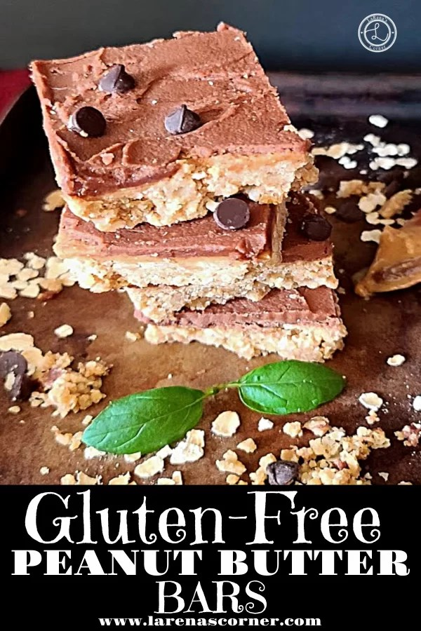 No Bake Peanut Butter Bars on a serving tray with some chopped peanuts and oatmeal.