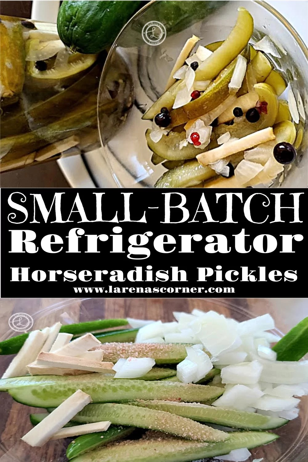 Two pictures of Small Batch Refrigerator Horseradish Pickles. One before pickling and one after.