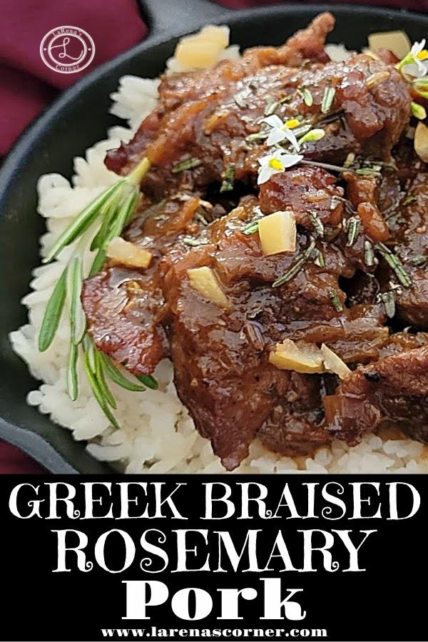 Greek Braised Rosemary Pork garnished with pickled lemons, basil flowers, and fresh rosemary.