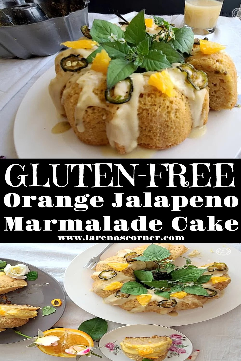 2 picture collage of Gluten-Free Jalapeno Marmalade Cake on plates.