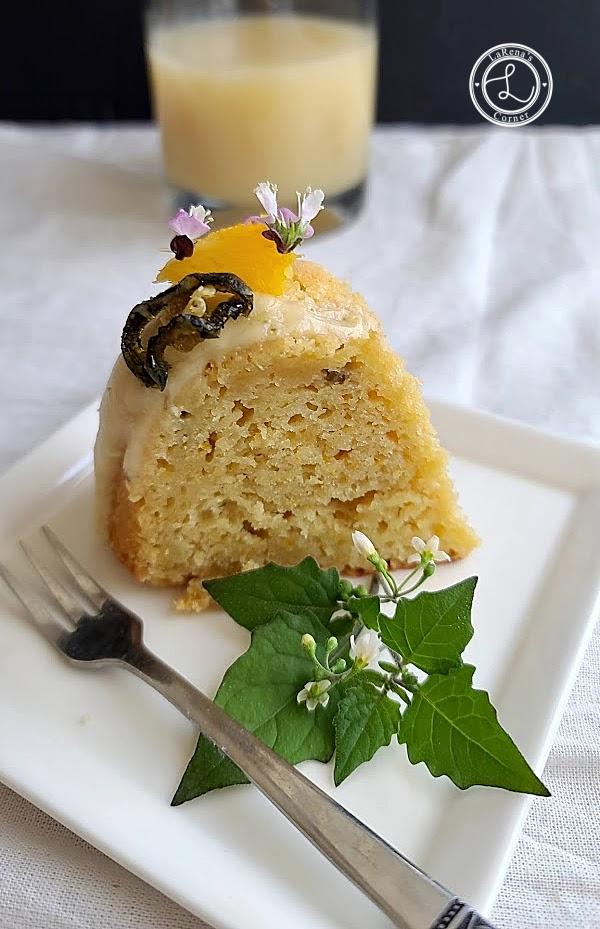 A slice of Gluten-Free Jalapeno Marmalade Cake on a plate.