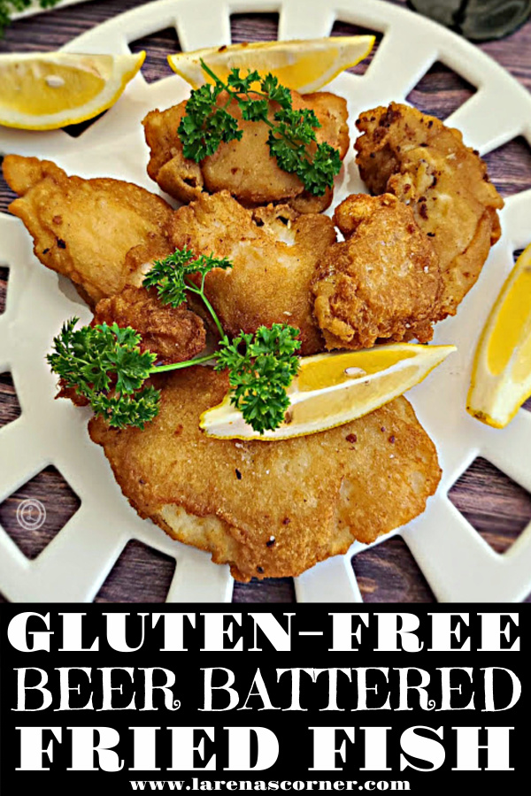 Gluten-Free Beer Battered Fried Fish On a round platter with lemon wedges