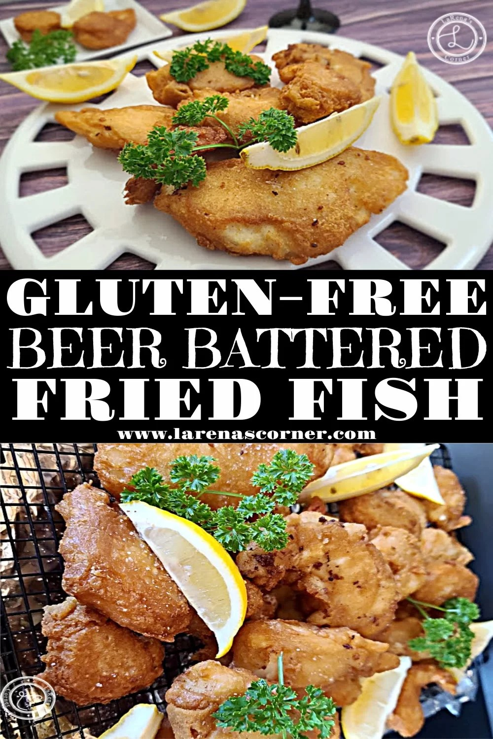 Gluten-Free Beer Battered Fish two pictures of the fish