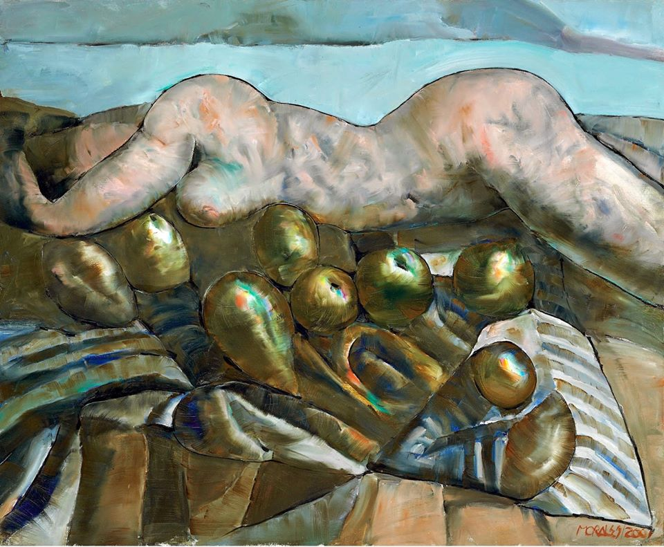 Armando Morales (Nicaraguan, Neofiguration, 1927–2011)- Woman Sitting next to the Fruit, 2001. Oil and beeswax on canvas, 60 x 73 cm. Private Collection.jpg