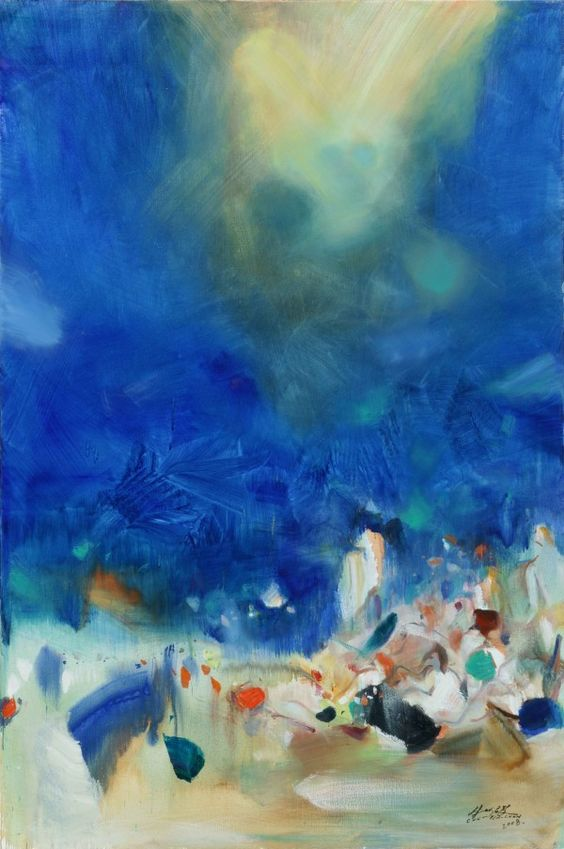 Chu Teh-Chun Sans titre 2008 Huile sur toile 195 x 130 cm