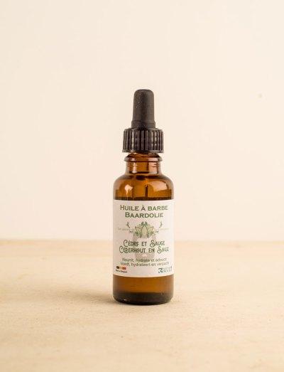 La ressource soins visage huile barbe cedre sauge la couronne local naturel bio belgique Zero déchet