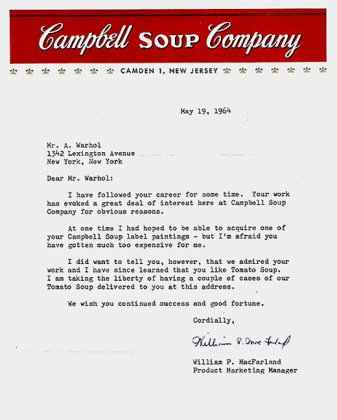Campbell Soup Company letter for Warhol