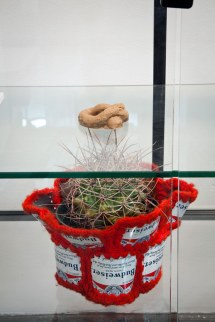 Gag dogshit, Cactus, Budweiser crochet cozy, from Between Connoisseurship and Humiliation