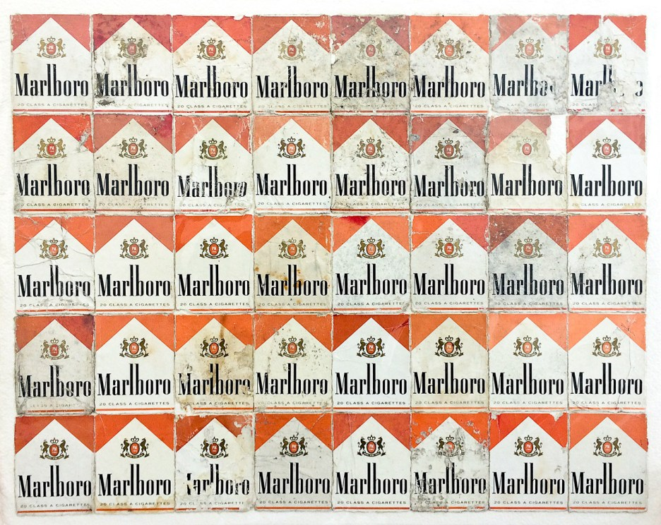 Red Orange Marlboro, 2013. Discarded Marlboro packaging on paper