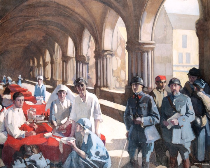 Neilson-Gray,_Norah_-_The_Scottish_Women's_Hospital_-_In_The_Cloister_of_the_Abbaye_at_Royaumont._Dr._Frances_Ivens_inspec..._-_Google_Art_Project.jpg
