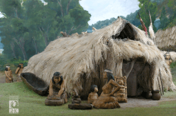 3-Habitation traditionnelle mapuche (Source-Diorama, Galeria de la Historia de Concepcion-Chili)