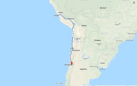 7-Le périple de Pedro de Valdivia pour arriver au Chili au début 1541 (Source-Google Maps modifiée par l'auteur)