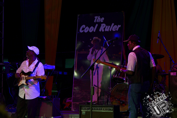 Guitarist Bo-Pee and band leader Lloyd Parks flank The Cool Ruler