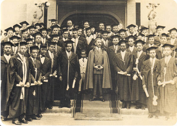 The Emperor with students of Haile Selassie University, Addis Abeba