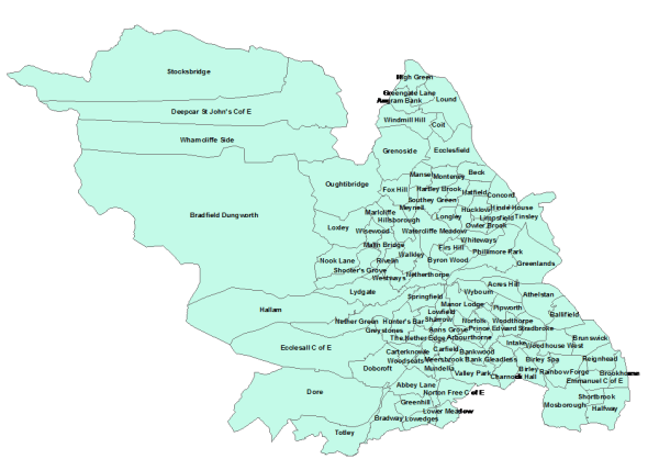 Figure 2: Map of Nominated Catchment Areas for Primary School Allocations, Sheffield