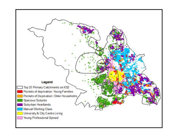 Figure 3. Core Primary Catchments (2020-11) with Neighbourhood Classification for Sheffield