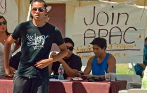 Members of the Appreciation of Pilipino American Culture club recruit new members.