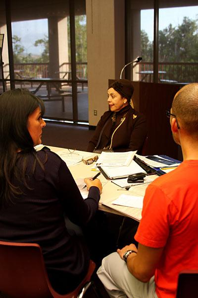 Spanish Instructor Carmenmara Hernandez Bravo talks about life in Spain to students interested in joining Saddleback College's Study Abroad Program this summer to Santander Spain. (Photographer/Joseph Espiritu)