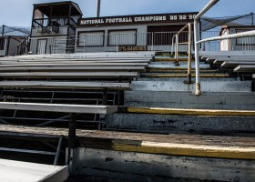 The current state of the football stadium is somewhat tragic, something the new Proposed Stadium plans to rectify (Lariat staff/File Photo)