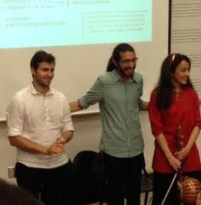 Arian Khoroushi, Hassam Abedini, and Niloufar Shiri after their performance.