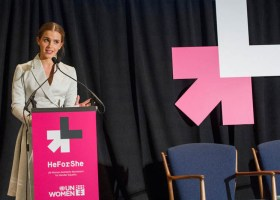 Emma Watson presenting her UN speech on gender equality at UN headquarters in New York on September 20, 2014. (photograph/HeForShe on Youtube.com)