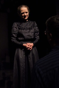 Susan M. Frontczak, writer and performer of MANYA: The Living History of Marie Curie, answers questions after her performance last Friday at the McKinley Theatre. (Photograph/Hannah Tavares)