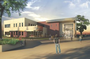 Exterior rendering of the A400 building after completion. (Image courtesy of SOCCCD Facilities Planning and Purchasing)