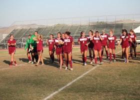 saddleback College women's soccer team breeze 2-0 over Fullerton College take victory walk off gauchos stadium field (Photographs/Dominic D. Ebel)