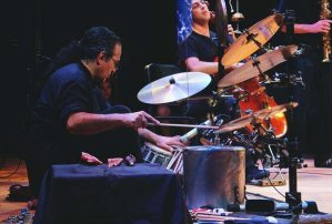 Chris Garcia on Percusion at the Quarteto Nuevo Jazz concert Monday night (photograph/Hannah Tavares).