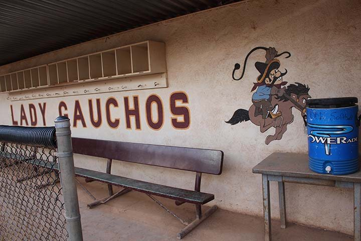 The Gaucho is painted on the inside of the home teams softball pit. (Photographer/Hannah Tavares).