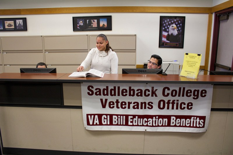 Student veterans Karen Miranda looks through the Saddleback College catalog. (Photo by Niko LaBarbera)