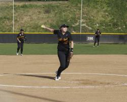 Pitcher Kaylee Cranmer in her windup.