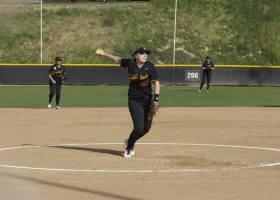 Pitcher Kaylee Cranmer in her windup.