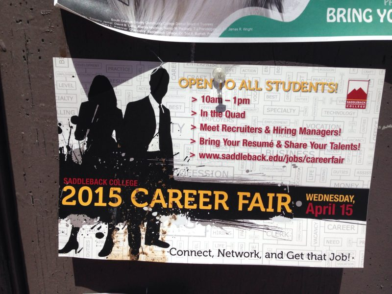 Many of Orange County's top companies will be in attendance for Saddleback's annual career fair. The event will take place on April 15 in the Quad, from 10 a.m. to 1 p.m.