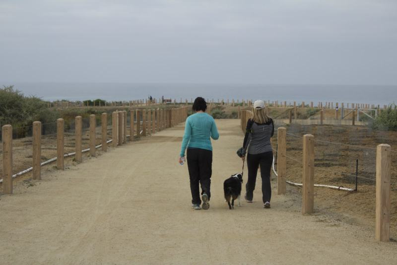 San Clemente residents enjoying a morning walk on their cities new trail. (Photo by Niko LaBarbera)